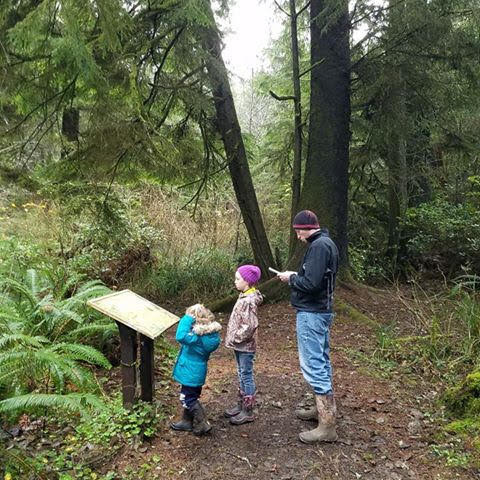 A dad and two children find clues on a sign on a forest trail
