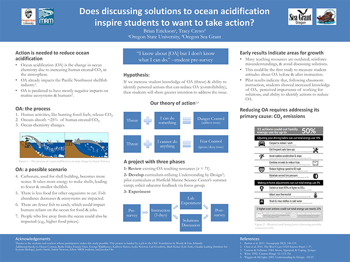 "Research poster titled, ""Does discussing solutions to ocean acidification inspire students to want to take action?"""