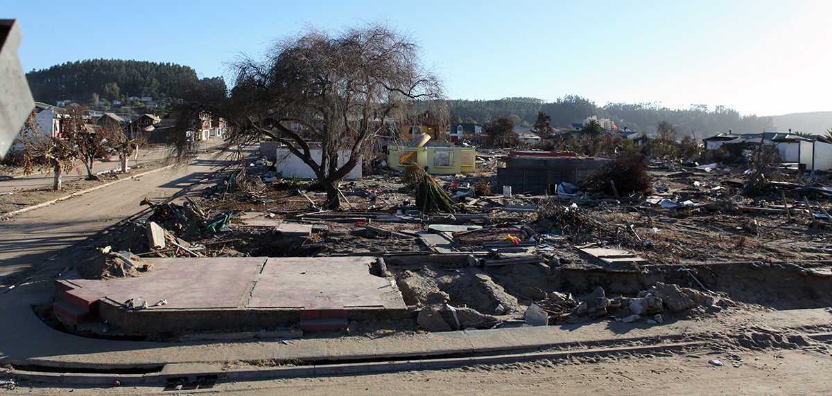 Photo of some of the devastation resulting from the 2010 tsunami in Chile