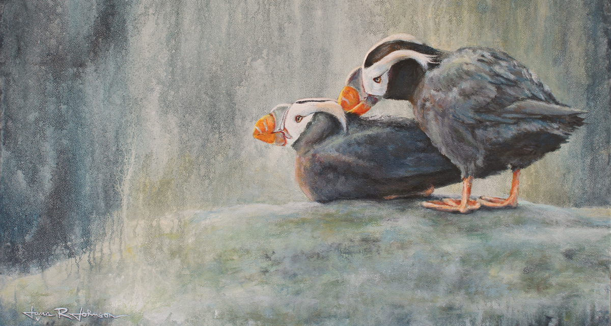 painting of tufted puffins