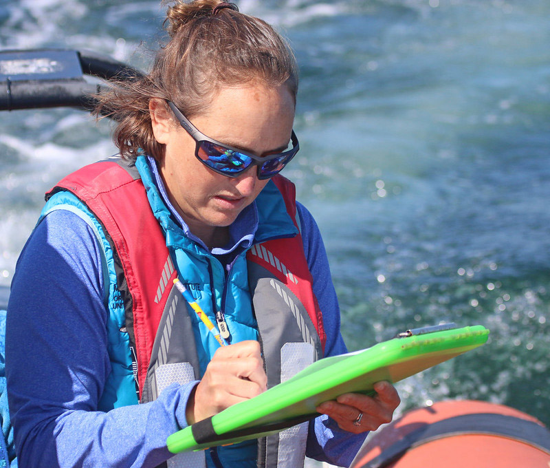 Leigh Torres takes notes on the whales she spots off the Oregon coast.