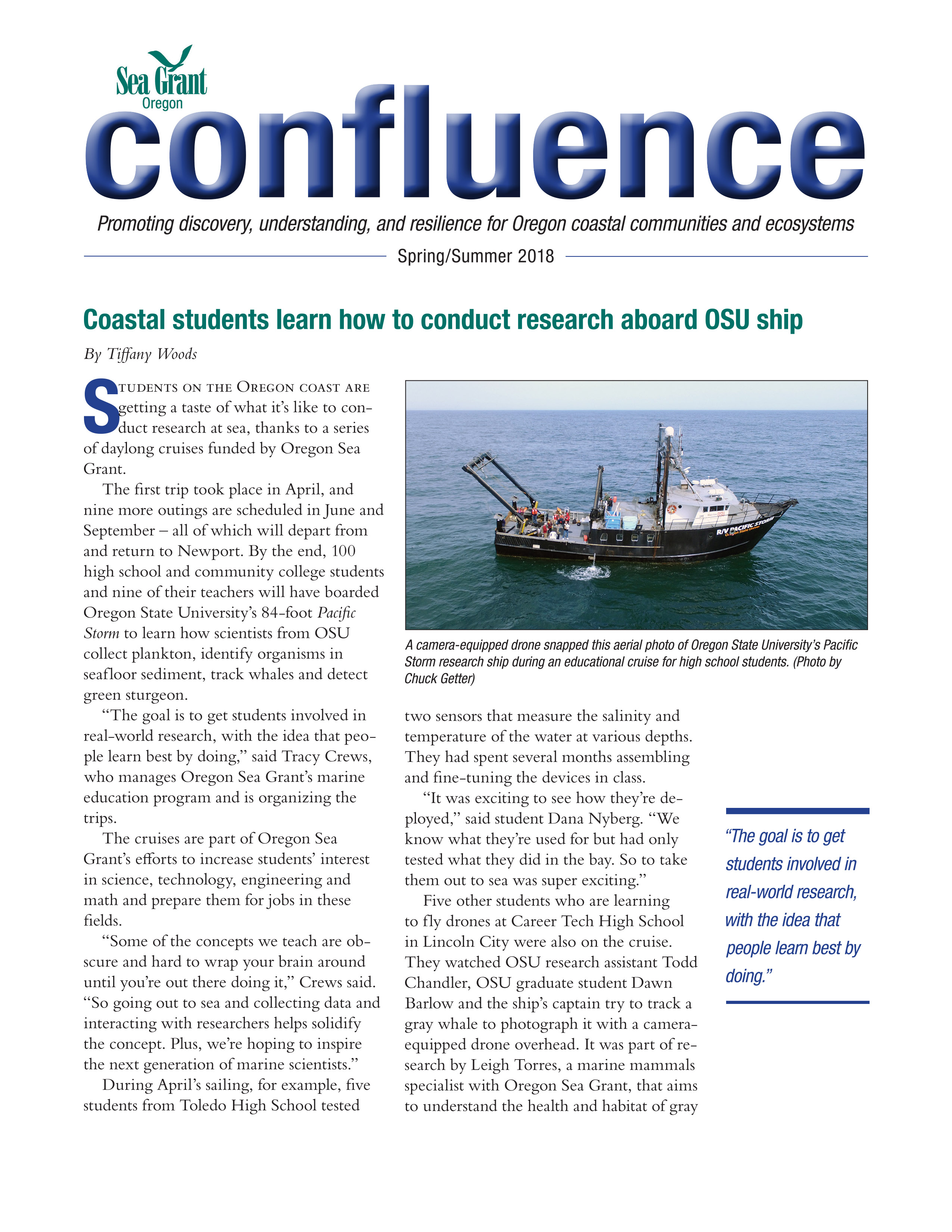 Cover page of Confluence newsletter, spring/summer 2018