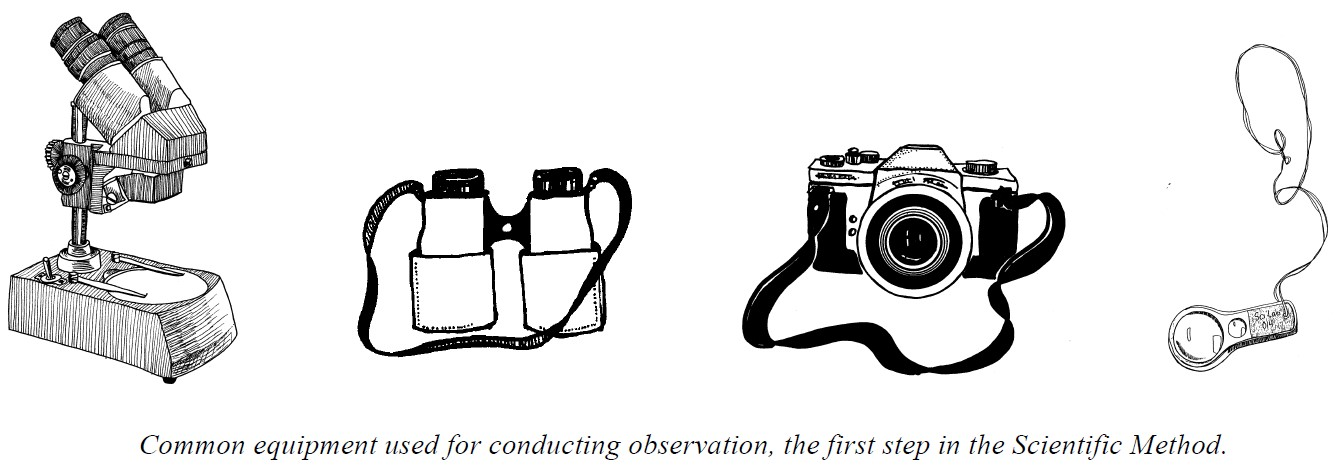 LLine drawing of common equipment used for conducting observation, the first step in the Scientific Method