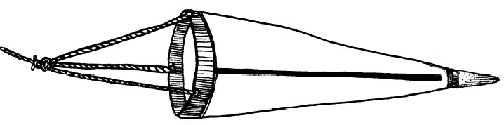 A drawing of a plankton net, conical shaped, with three short ropes tied to it's opening. These ropes all are attached to a single rope used to drag it threw the water..