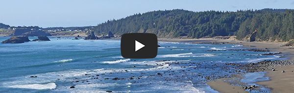 A view of waves and the beach at Port Orford on a sunny day. The headlands form a cresent shape in the background with a lighthouse in the distance.