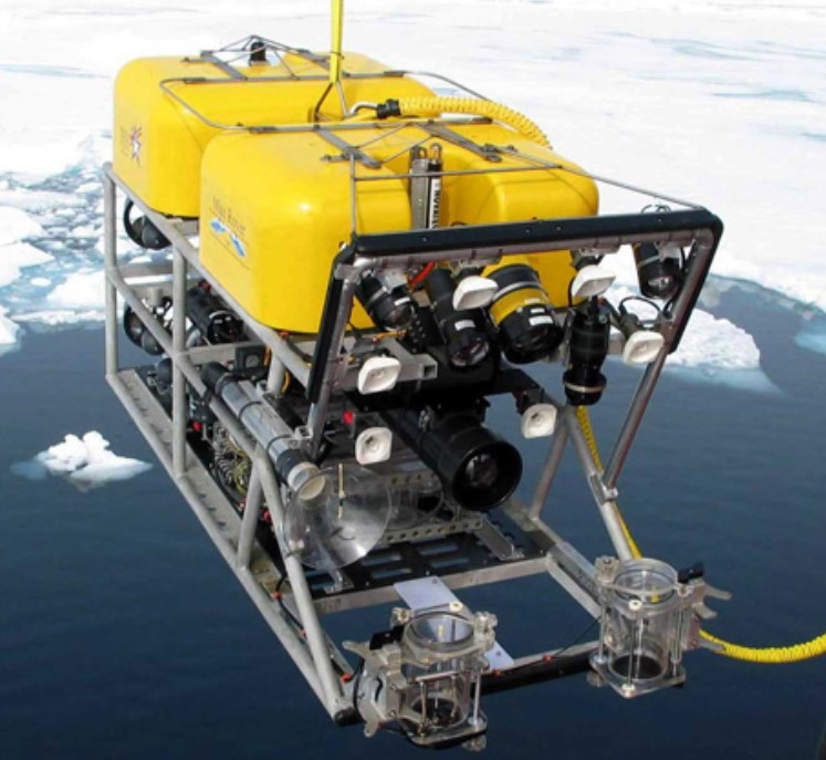 ROV ready to be deployed into the Antarctic ocean to photograph the sea floor and collect samples.