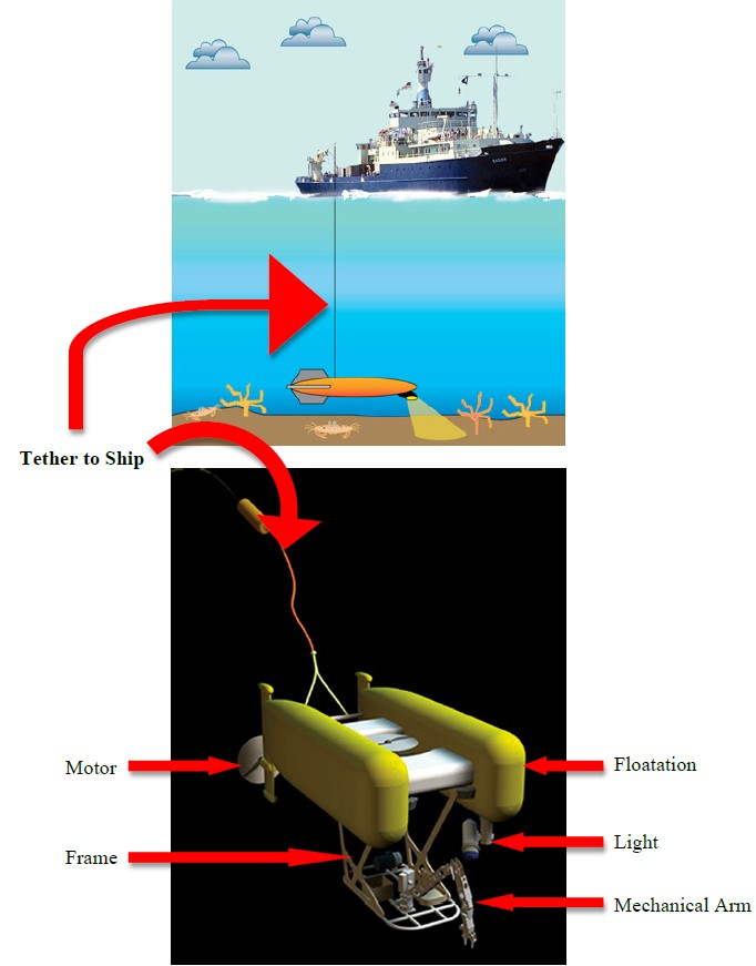 A graphic showing a ship on the ocean tethered to an ROV in the ocean. Some ROV parts are named motor, frame, floatation, light, mechanical arm.