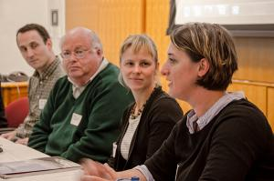 Former Sea Grant director Bob Malouf listens to presentation during 2012 Scholars Symposium