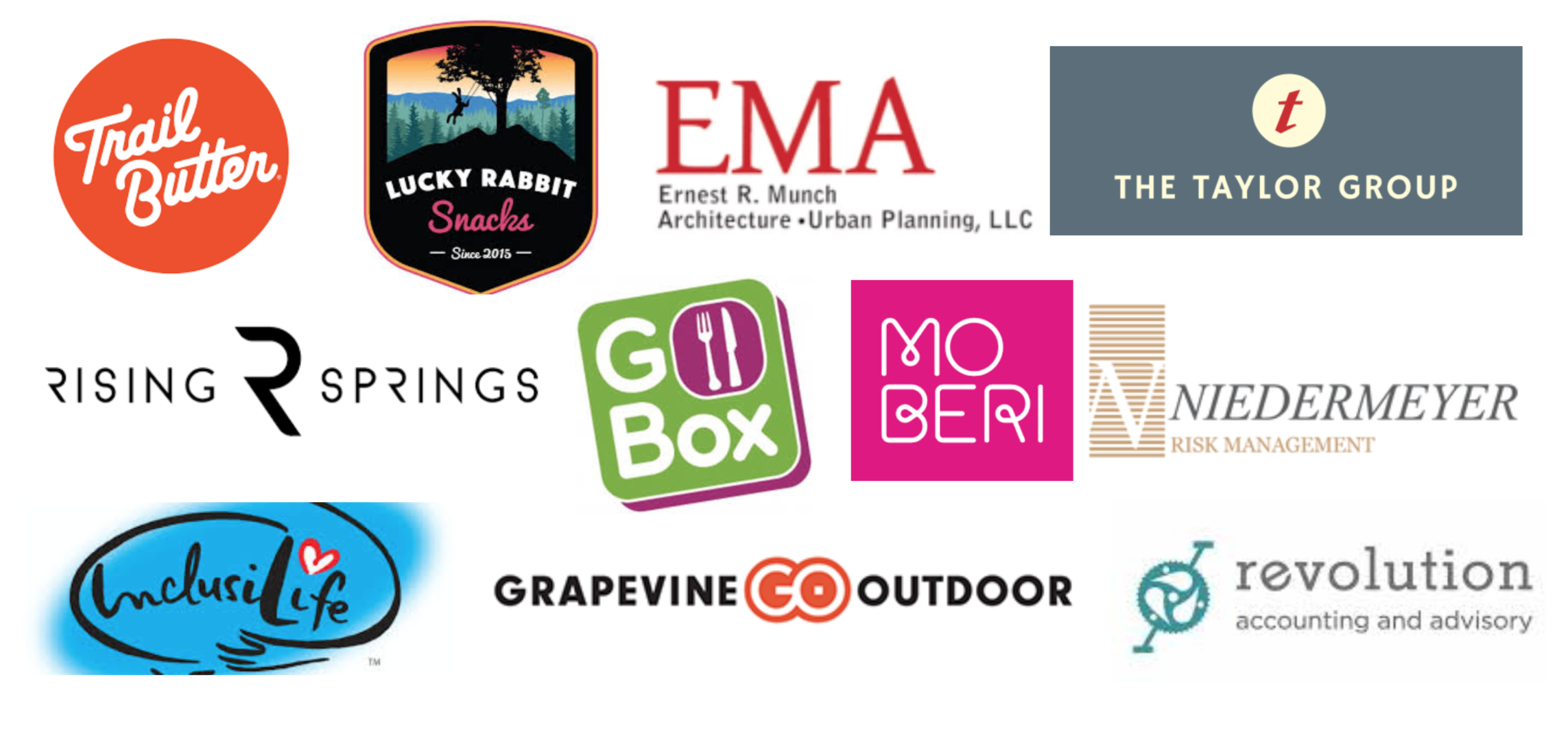 Logos for the 2018-2019 clients of B Impact, including Trail Butter, Lucky Rabbit Snacks, EMA Architecture, The Taylor Group, Rising Springs, Go Box, Mo Beri, Niedermeyer risk management, Inclusive Life, Grapevine Outdoor, and Revolution Accounting