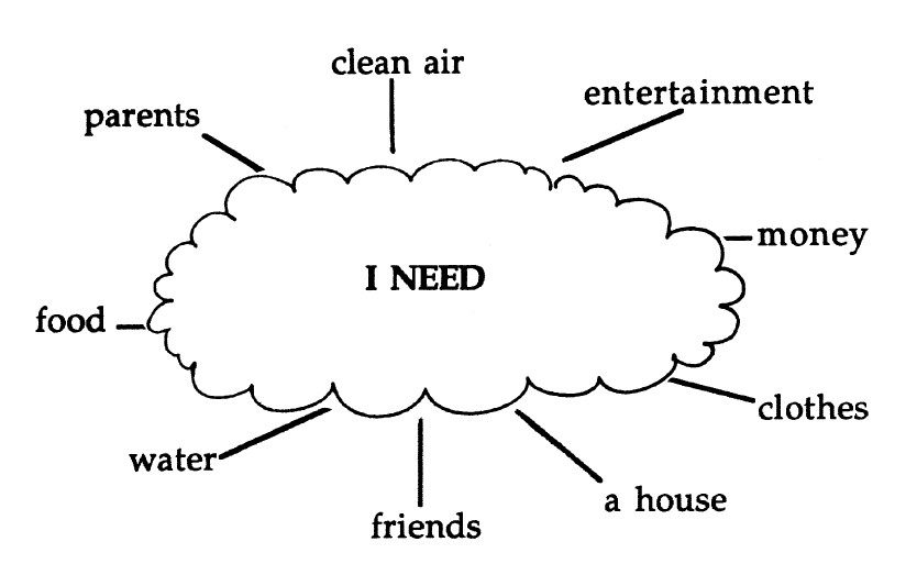 Image cloud graphic listing what students think they need to survive