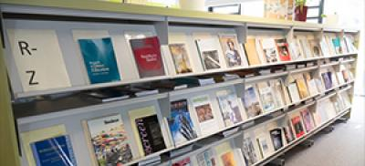 journals on shelves in a library