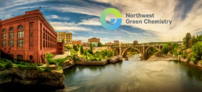 River side view of Portland with Northwest Green Chemistry logo in the corner of the image.