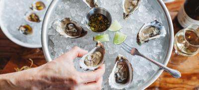 Oyster half shell on ice