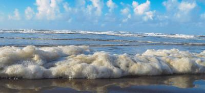 A line of fluffy sea foam sits along the waterline at the beach on a sunny day.