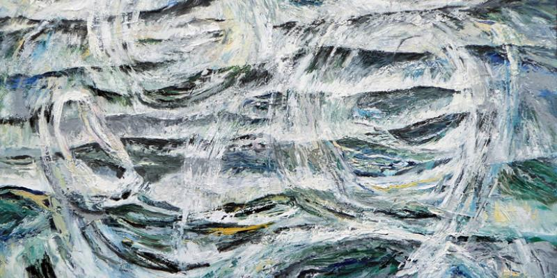 Painting of waves in a rough sea