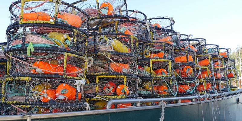 Stacks of crab pots fill the deck of a fishing boat.