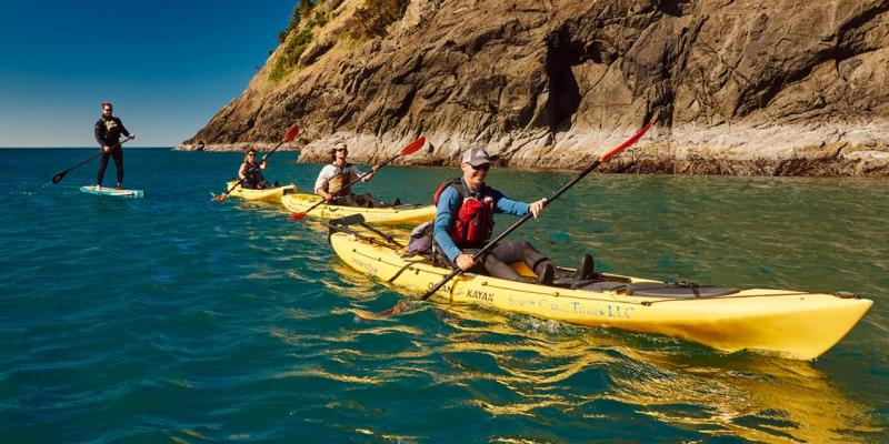 People kayak on coast