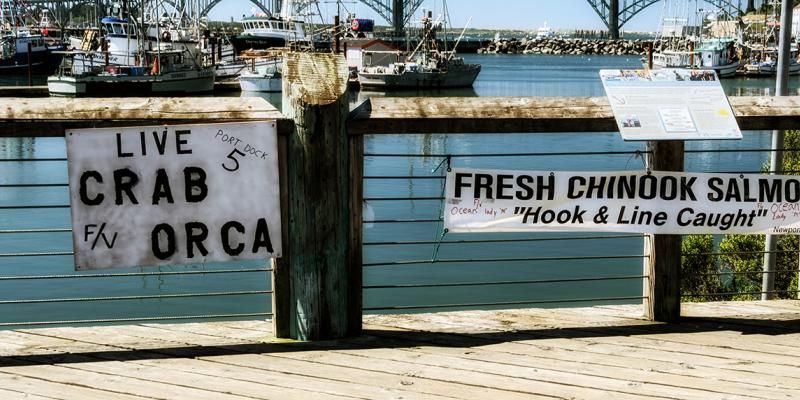 Photo of signs advertising fresh-caught crab and Chinook salmon on a dock in Newport, Oregon.