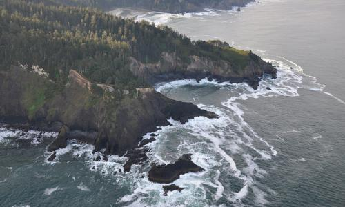 Aerial view of Cape Falcon on the Oregon coast