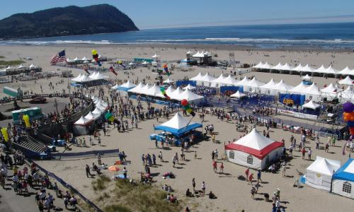 Tents set up at the beach for the end of the Hood to Coast run and end celebration