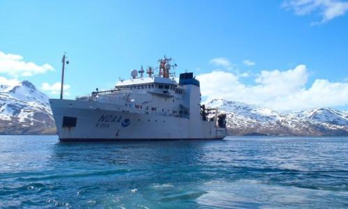 A large NOAA research ship, the Ocsar Dyson in Dutch Harbor, Alaska.