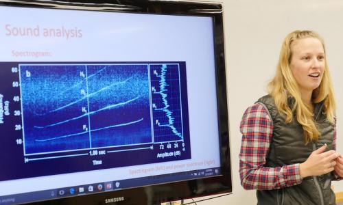 Selene Fregosi stands in front of a graph of whale sounds while making a presentation on her research.