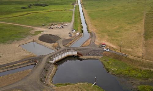 Aerial view of Winter Lakes tide gate project.