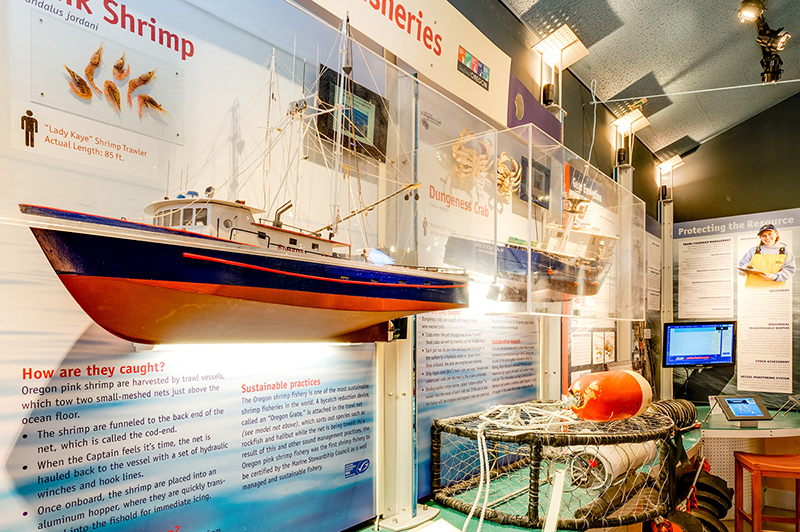 The sustainable fisheries exhibit. It shows a large model fishing boat, crab fishing gear, and informative text.
