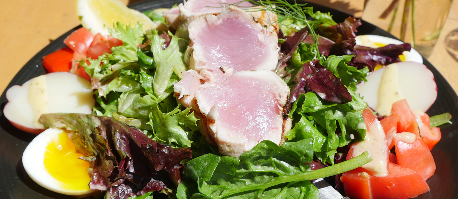 A nicoise salad made with albacore tuna is served at Local Ocean's restaurant in Newport.